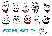 Smiling funny faces in cartoon comic style showing happiness, joyful and cheerful emotional expressions suitable for humor caricature or character design poster