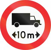 Chilean traffic sign prohibiting thoroughfare of vehicles with a length over 10 meters. poster