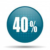 40 percent blue glossy web icon  poster