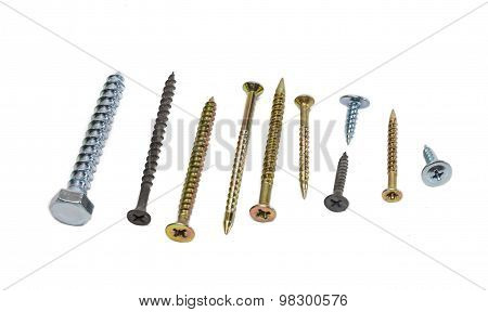 Several wood screws different sizes shape design and purpose covered with a protective anticorrosion coating on light background. Isolation. poster