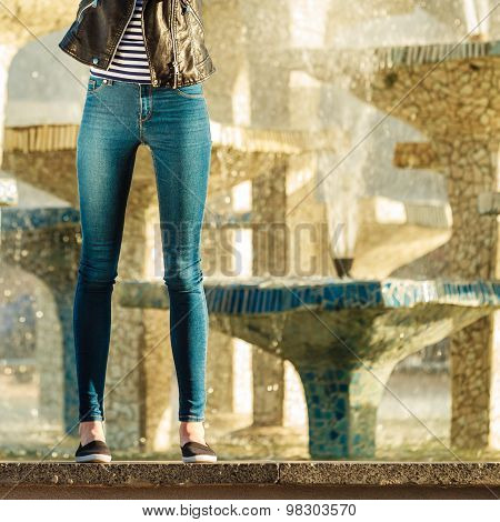 Woman Legs In Denim Trousers Casual Style Outdoor
