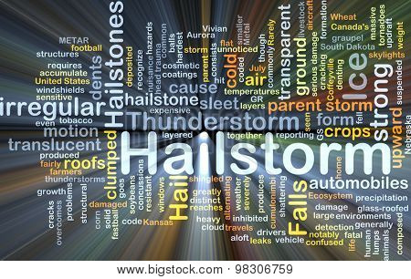 Background concept wordcloud illustration of hailstorm glowing light