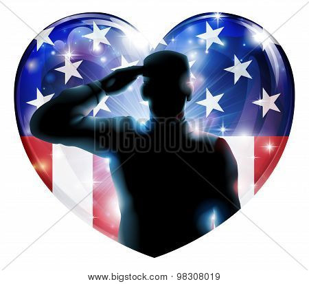 Illustration of a heart shape Veterans Day or 4th July Independence Day of a soldier saluting in front of American flag poster