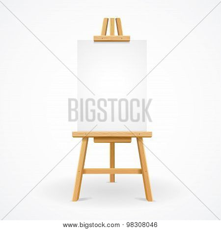 Wooden easel empty. Vector
