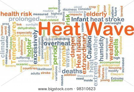 Background concept wordcloud illustration of heat wave