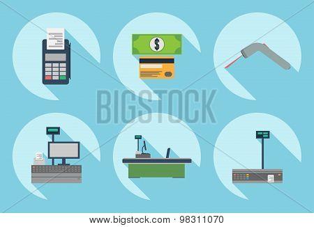 Cash desk. Cashier place. Cash machine. Cash register. Cash desk vector illustration. Cash register icon. Cash machine icon. Supermarket cash desk sign. Cash desk elements. Flat design style. Store.