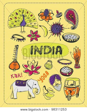 India doodle, India sketch illustration. India cartoon elements. Hand Drawing illustration about India. Tourist Attractions of India, Symbol India. Cartoon India. India travel, asia, mandala, spice. Vector Indian art symbol. Travel to India. Yoga, peacock