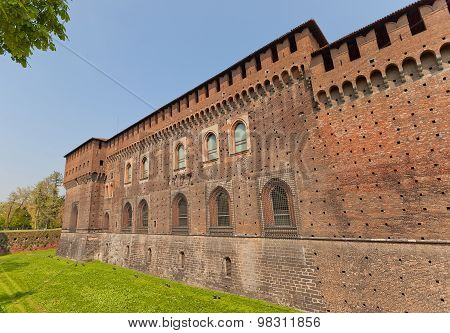 Corner Tower Of Sforza Castle (xv C.) In Milan, Italy