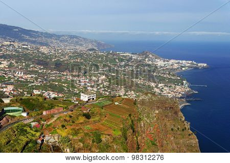 Aerial landscape taken from Cabo Girao, Madeira Island, Portugal, Europoe