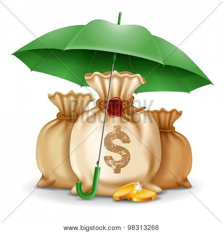 Three bags of money and golden coins under the green umbrella. Concept of money protect. Vector illustration.