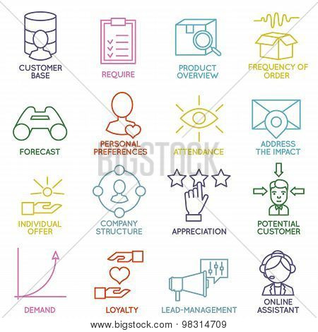 Vector Set Of Linear Customer Relationship Management Icons - Part 2