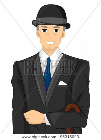 Illustration of an Englishman Wearing Formal Attire