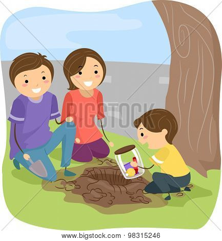 Stickman Illustration of a Family Burying a Time Capsule Together