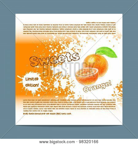 Template candy packaging. Orange sweets.