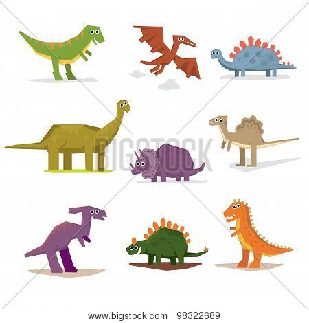 Dinosaurs and prehistoric period, vector illustration flat style poster