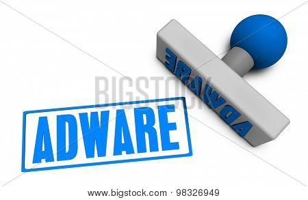 Adware Stamp or Chop on Paper Concept in 3d