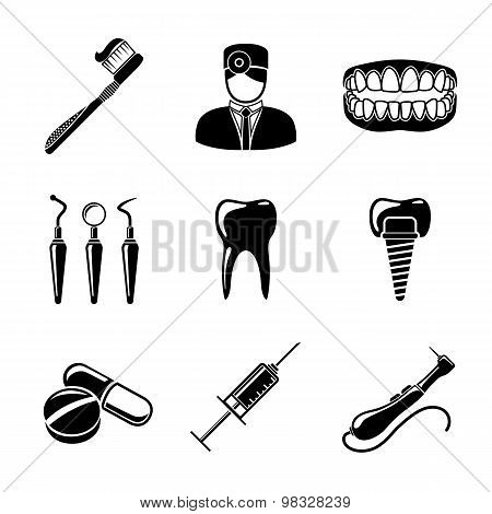 Dental icons set with - tooth, jaw, toothbrush, dentist tools, doctor, prosthesis, drill, pills, syr