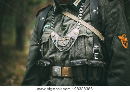 Uniform of a Feldgendarm during World War II, including the dist