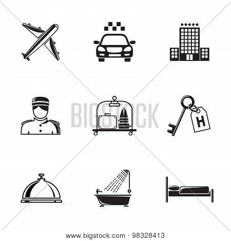 Hotel and service monochrome black icons set with - building, bell, bed, luggage, porter, room key,