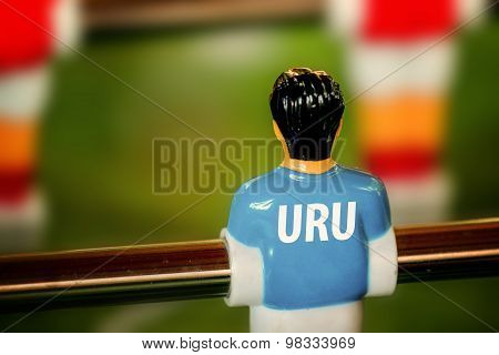 Uruguay National Jersey On Vintage Foosball, Table Soccer Game