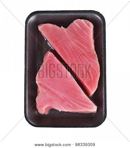 Ahi Tuna Raw Steaks in a Tray Isolated on White Background