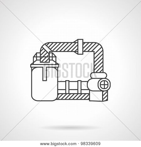Wastewater treatment line vector icon