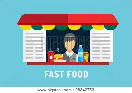 Fast food vector objects set. Water bottle, juice, eat, ice cream, hamburger, hot dogs, mobile food