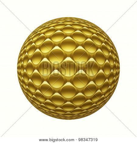 Gold Metal 3D Sphere With Circles Pattern Isolated On White
