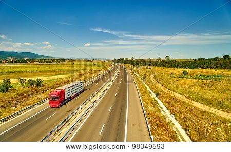 Truck Moving On Highway