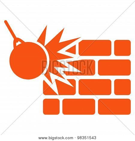 Destruction icon from Business Bicolor Set. Vector style: flat symbols, orange color, rounded angles, white background. poster