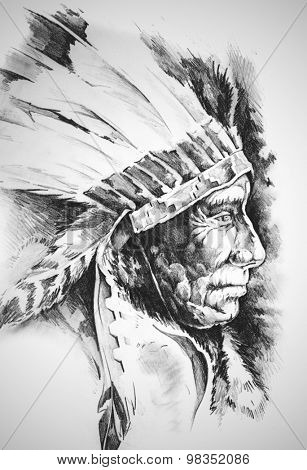 Sketch of tattoo art, native american indian head, chief, isolated