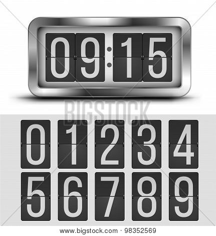 Analog flip clock silver retro design with numbers template, vector illustration poster