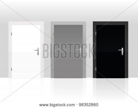 Three Doors White Gray Black Closed