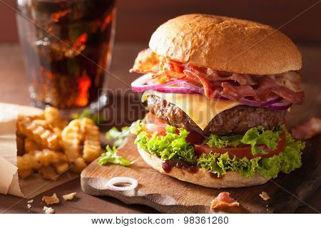 bacon cheese burger with beef patty tomato onion cola poster