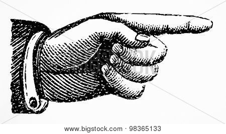 Point right hand drawn Vector retro Vintage pointing hand drawing