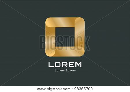 Vector golden square abstract logo template. Corner geometric and symmetric symbol, trendy icon, cre