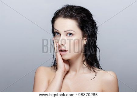 Sexy Woman With Wet Hair Surprised