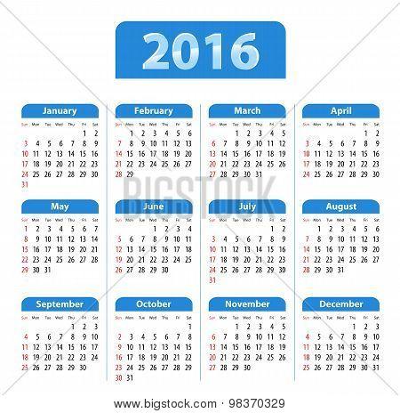 Blue Glossy English Calendar For 2016