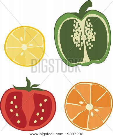 Mixed fruit and vegetable slices seeds