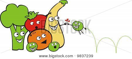 Cute fruit vegetables playing high five