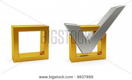 Silver Check Mark And Golden Check Box