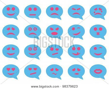 Chat emotion smile icons. Vector set style: bicolor flat images, pink and blue symbols, isolated on a white background. poster
