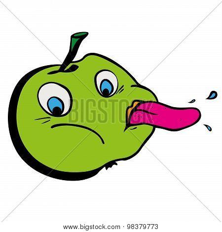 Tease funny cartoon green apple showing tongu