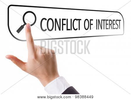 Conflict of Interest written in search bar on virtual screen