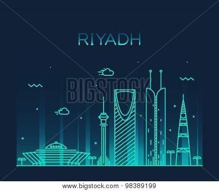 Riyadh skyline trendy vector illustration linear