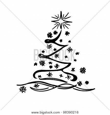 Christmas tree, sketch, vector
