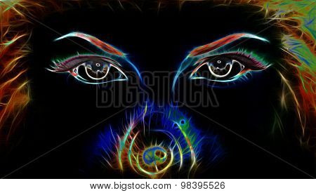 women eyes looking up mysteriously from behind a small rainbow colored peacock feather. Eye contact poster