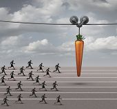 Employee incentive business concept as a group of businessmen and businesswomen running on a track towards a dangling carrot on a moving cable as a financial reward metaphor to motivate for a goal. poster