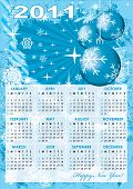 Calendar grid of 2011 year on frost abstract background. English variant. Vector illustration - eps10. Gradient mesh and transparency include. poster