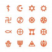 Fat Line Icon set for web and mobile. Modern minimalistic flat design elements of world religious symbols poster